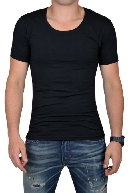 Black t-shirt men o-neck