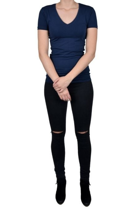 V-neck women ss navy 014