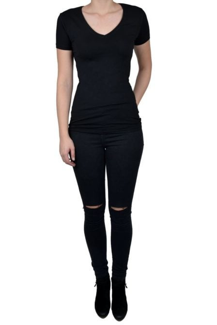 V-neck women ss black 014