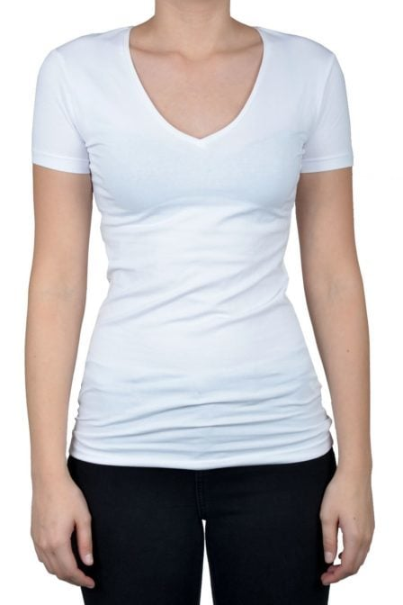 V-neck women ss white 014