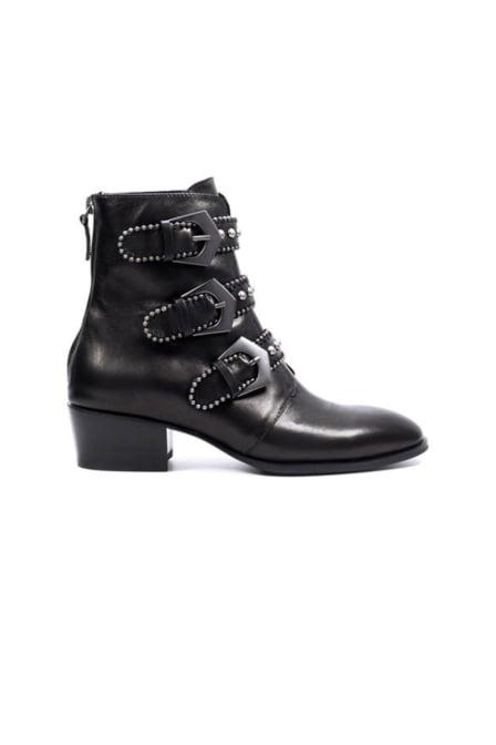 Lola cruz leather studdes ankle boots black
