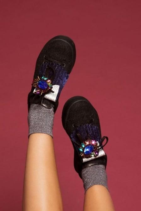 Pinned by k glitter socks grey