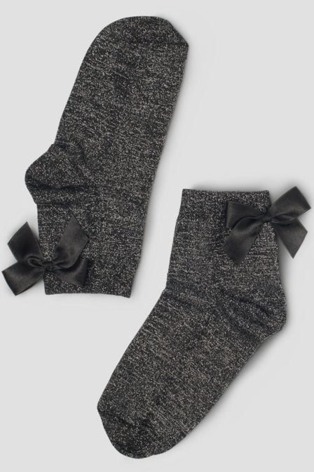Pinned by k socks bow silver