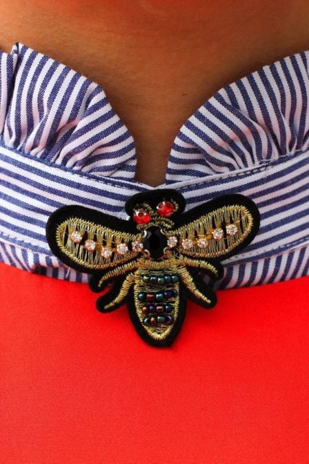Pinned by k candy badge little bee