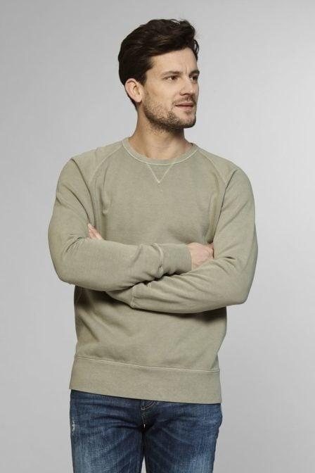 Denham crew sweater artillery green