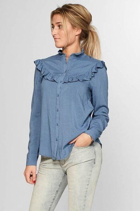Circle of trust denver blouse jeans blue dots
