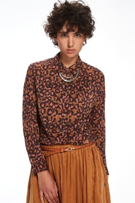 Maison scotch bedrukt overhemd brown