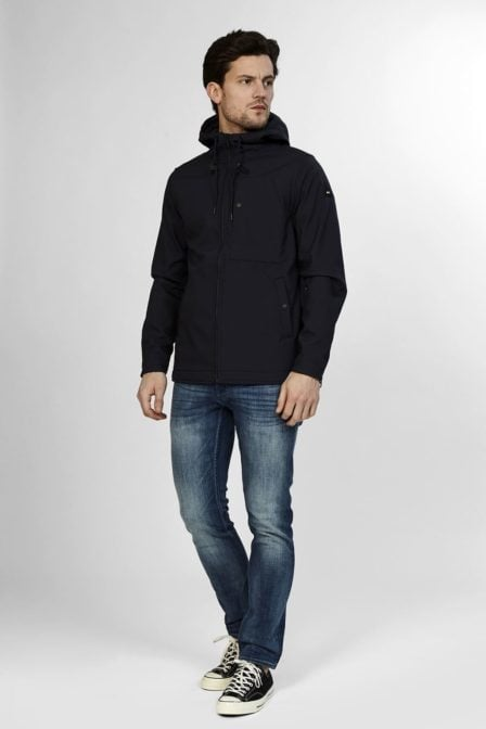 Denham brass shell jacket dark navy