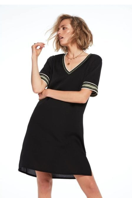 Maison scotch sportieve jurk met v-hals zwart