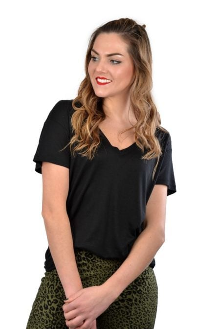 Alix knitted v-neck t-shirt black