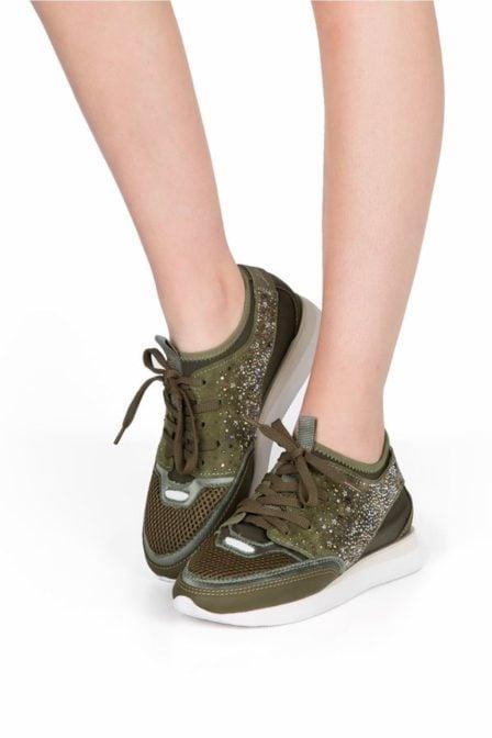 Lola cruz sneaker with crystal stones green