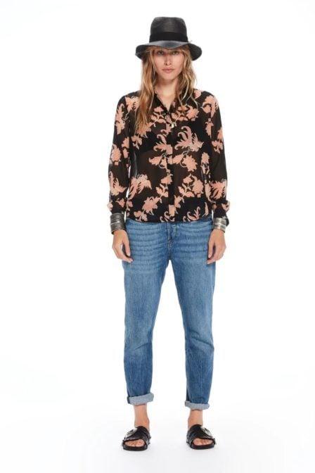 Maison scotch blouse met mixed print zwart