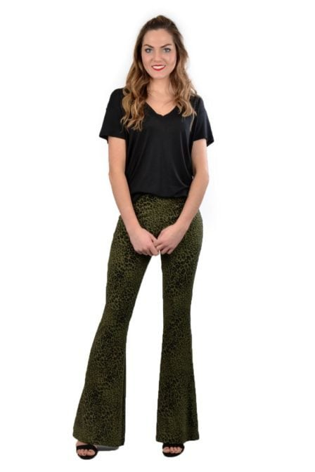 Alix knitted animal flared pants