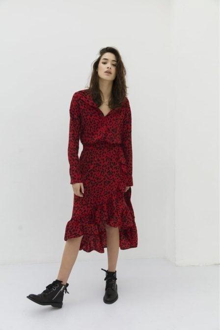 Alix leopard blouse intense red