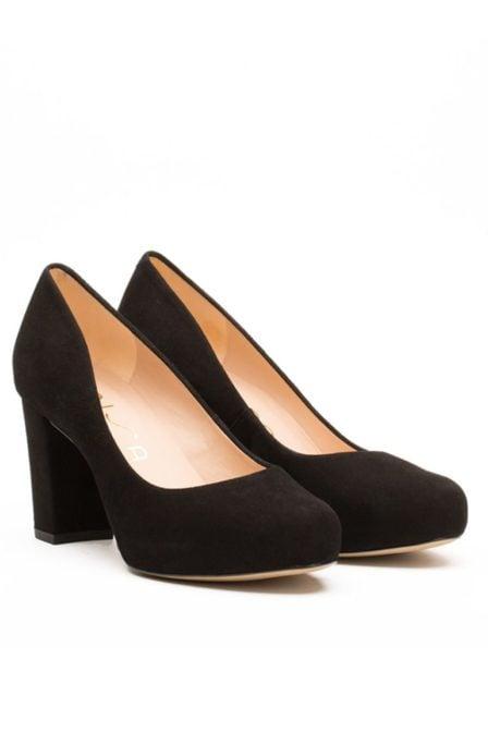 Unisa heeled kid suede pump black