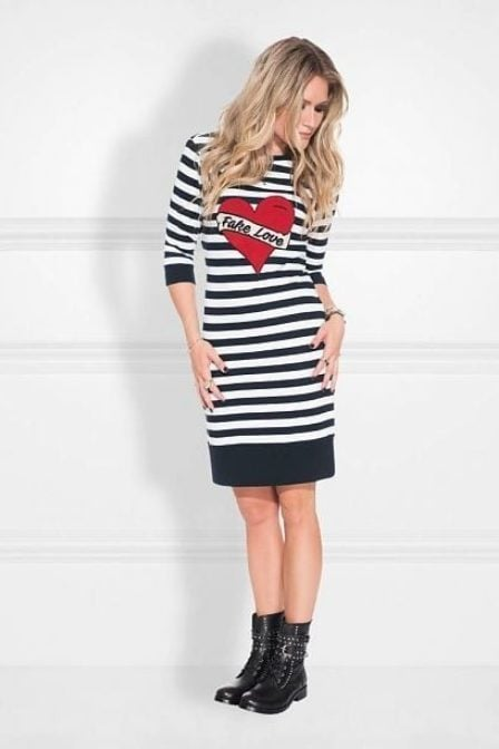 Nikkie by nikkie stripe sweatdress navy/off white