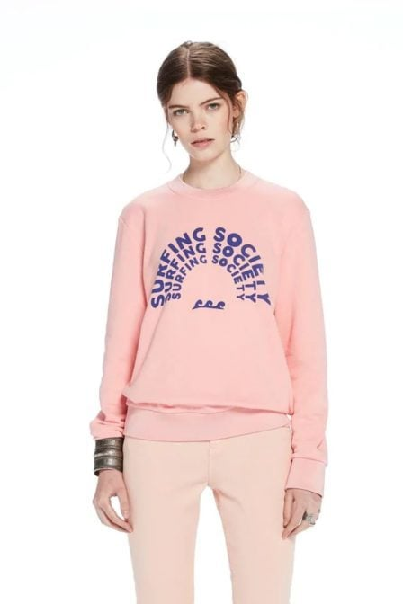 Maison scotch surf-inspired artwork sweater pink