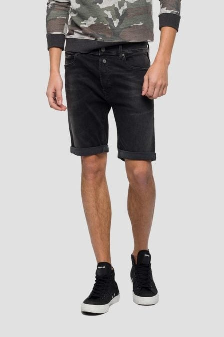 Replay rbj 901 tapered fit bermuda short black denim