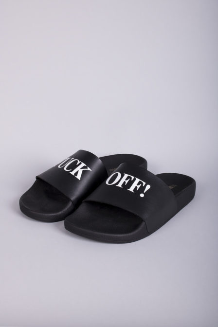 The white brand fuck off slippers black