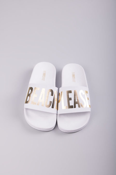 The white brand beach please slippers white