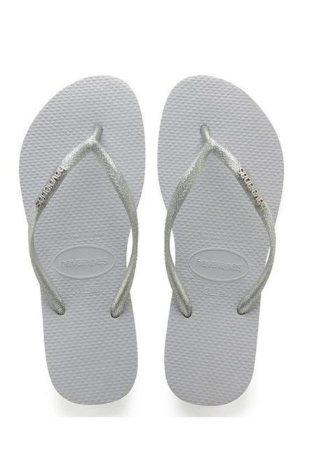 Havaianas slim logo metallic slippers grey