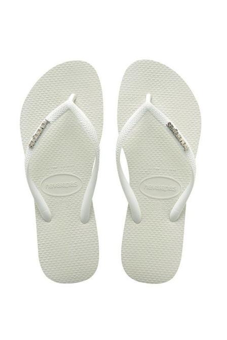 Havaianas slim logo metallic slippers white/silver