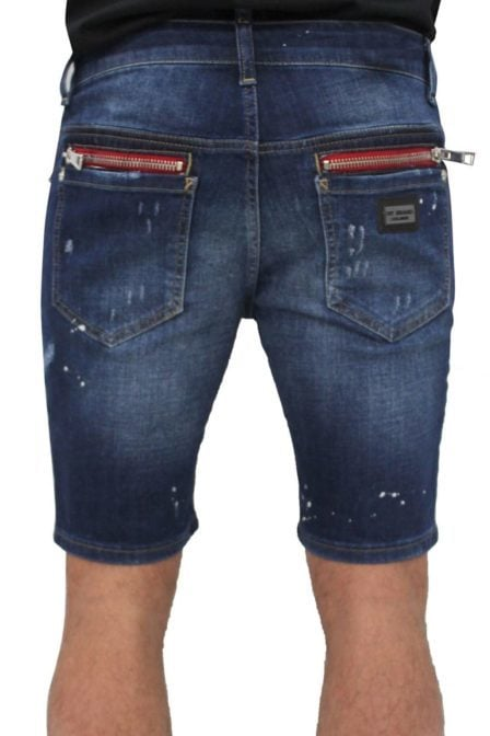 My brand vittore 005 zipper back short jeans blue