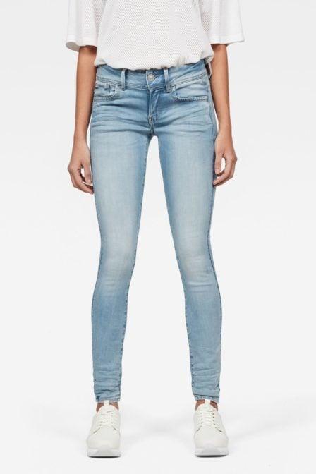 G-star raw lynn d-mid waist super skinny jeans light aged