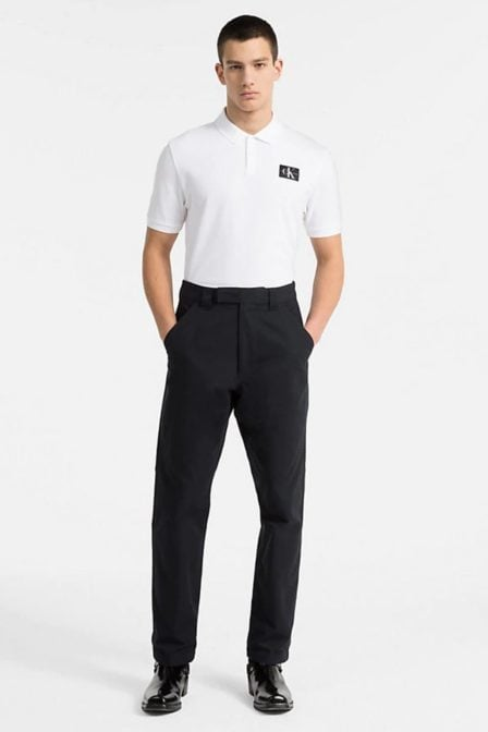 Calvin klein pique katoenen polo bright white/black