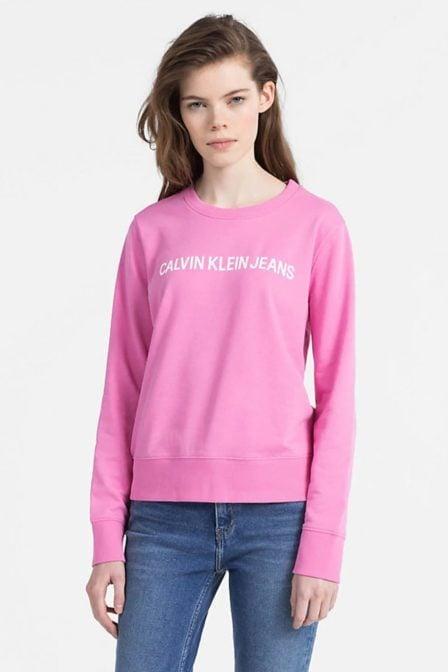 Calvin klein sweatshirt met logo wild orchid