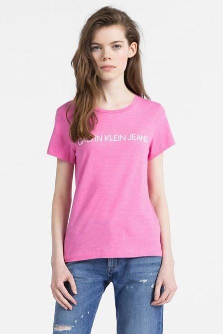 Calvin klein slim t-shirt met logo wild orchid