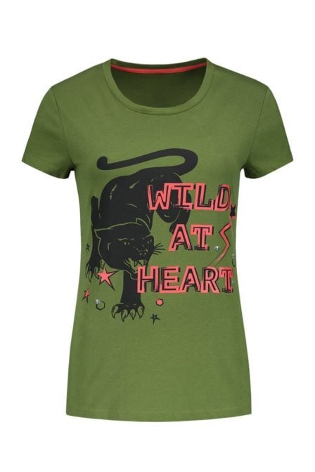 Nikkie wild at heart army green t-shirt