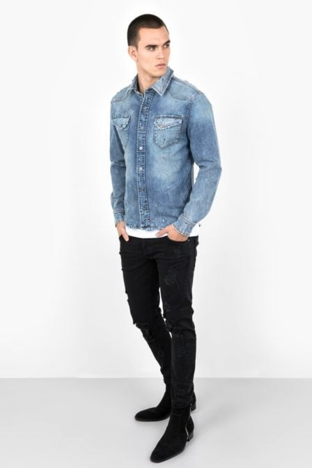 Tigha fred shirt vintage sand blue