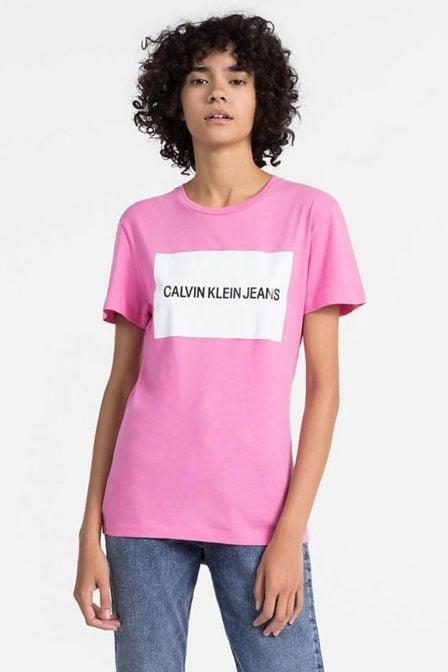 Calvin klein t-shirt met logo wild orchid
