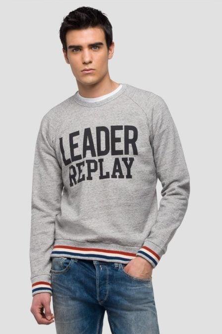Replay mouliné sweatshirt logo print
