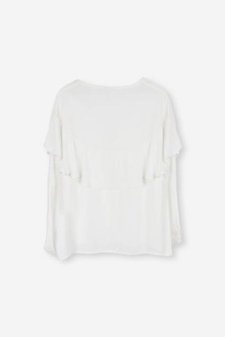 Alix flowy ruffled top off white