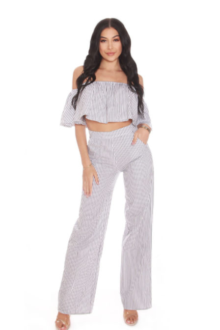 La sisters bardot striped two piece white