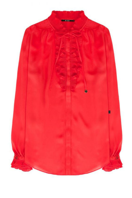 10 feet blouse with pleated r details at neckline pepper