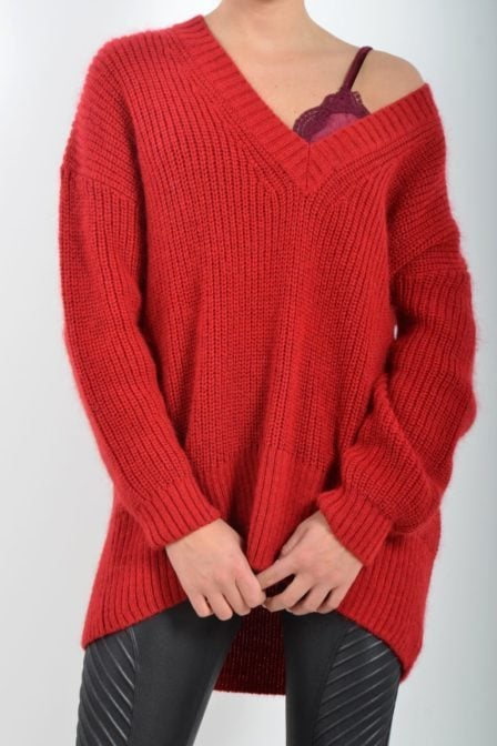 Alix the label soft knit pullover red