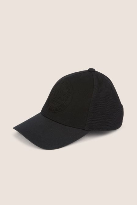 Armani exchange embossed logo mesh paneled hat nero