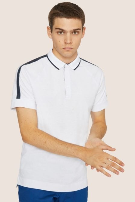Armani exchange high-shine logo tape polo white