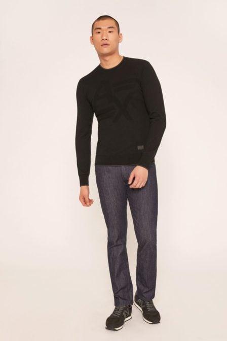 Armani exchange tonal logo intarsia sweater black