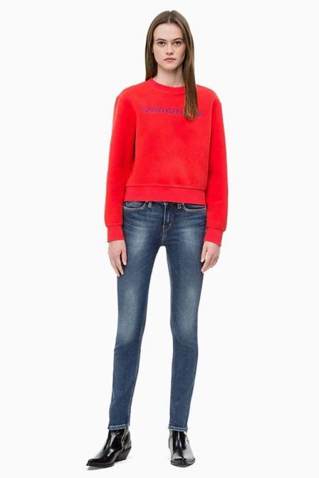 Calvin klein fleece sweatshirt rood