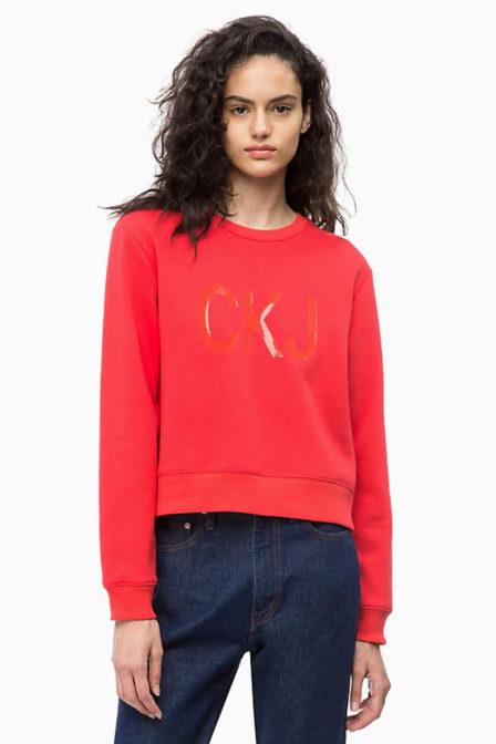 Calvin klein vinyl logo sweatshirt rood