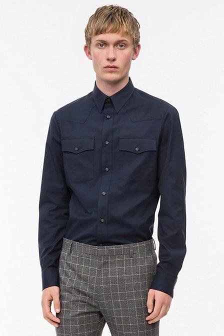 Calvin klein western overhemd blauw