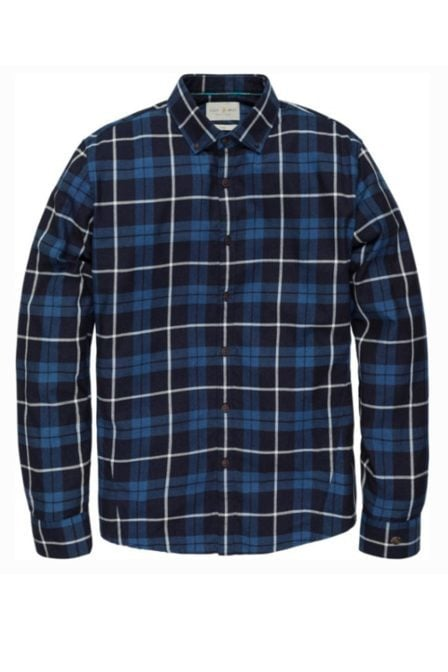 Cast iron soft indigo check shirt mid indigo