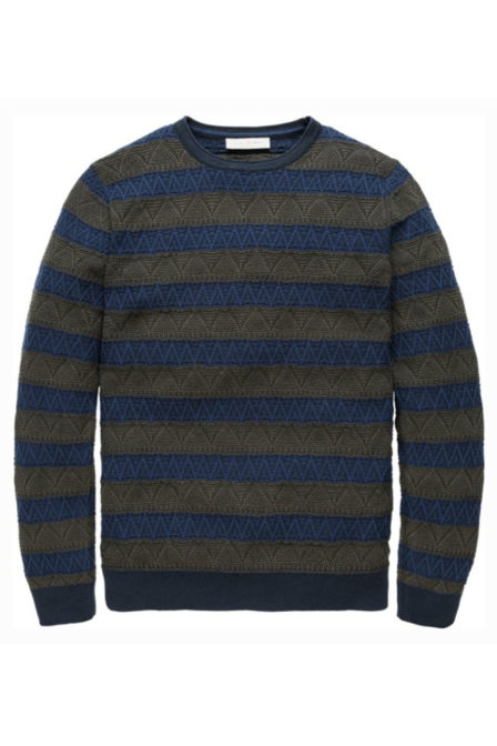 Cast iron structure striped crewneck pullover forest night