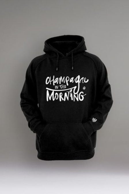 Champagne in the morning logo hoodie zwart