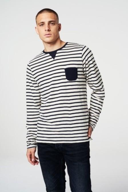 Dstrezzed crew ls slub stripe jersey navy