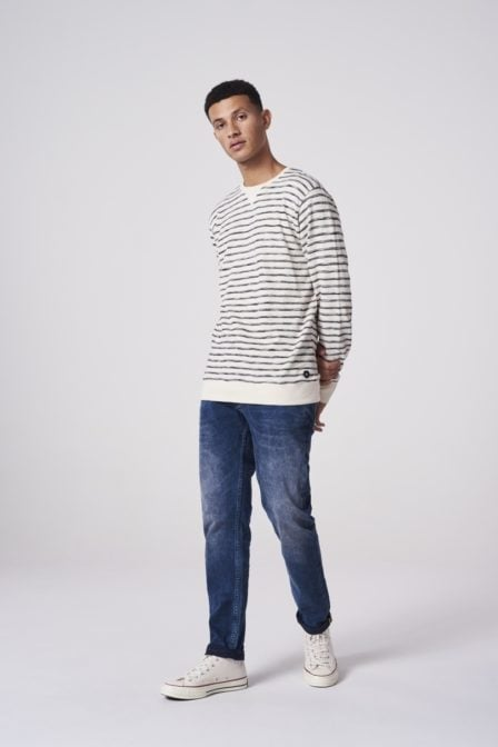 Dstrezzed crew uneven stripe shirt wit